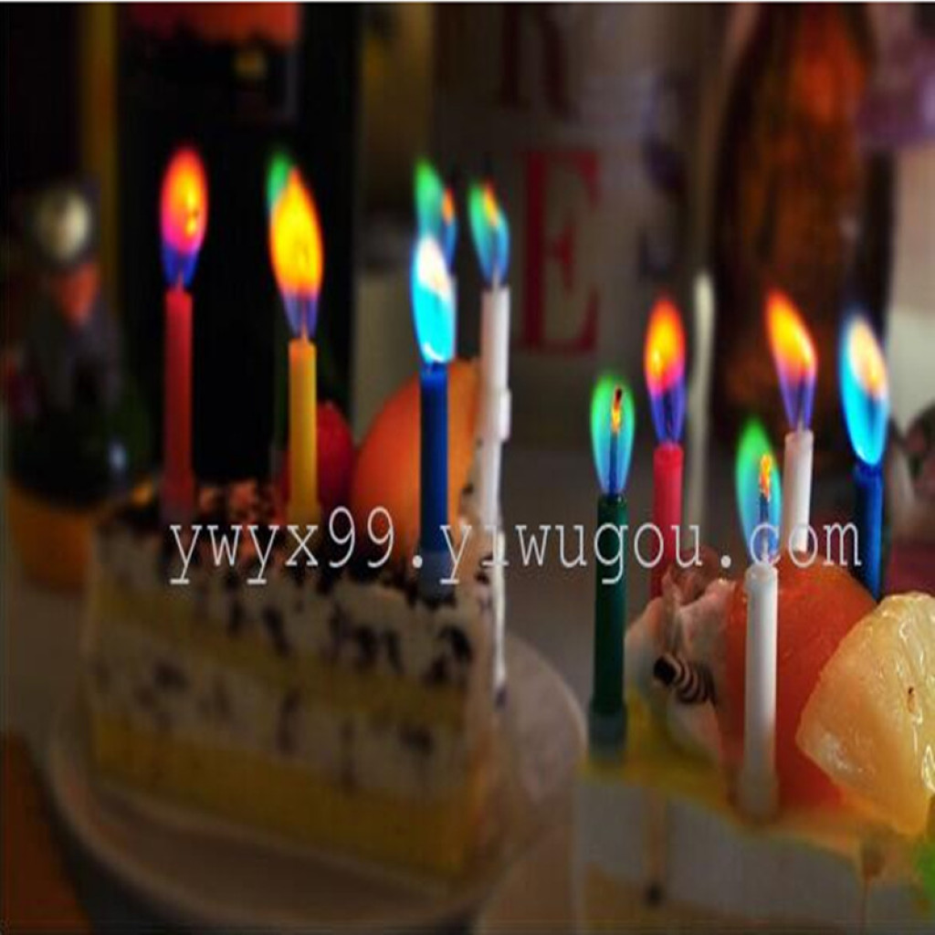 The Candle With Coloured Flame Birthday Candles Green Red Yellow Blue Purple Cake