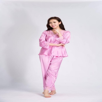 Silk pajamas plain lace suit