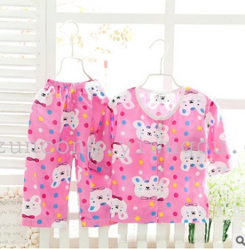 The boys and girls air conditioning suit suit Home Furnishing bourette cardigan children pajamas