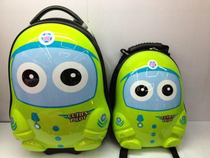 13寸绿色卡通机器人双肩背包小可爱 动物款书包幼儿园