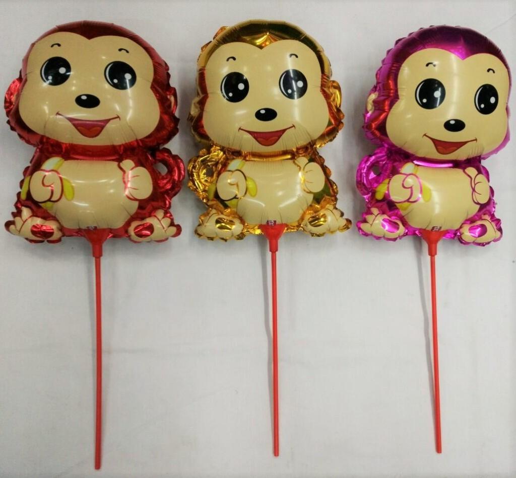 迷你笑脸可爱猴托杆卡通气球