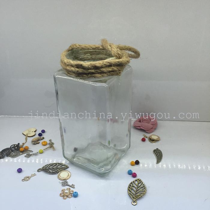 欧式铁艺透明花瓶 麻绳玻璃瓶 厂家直销