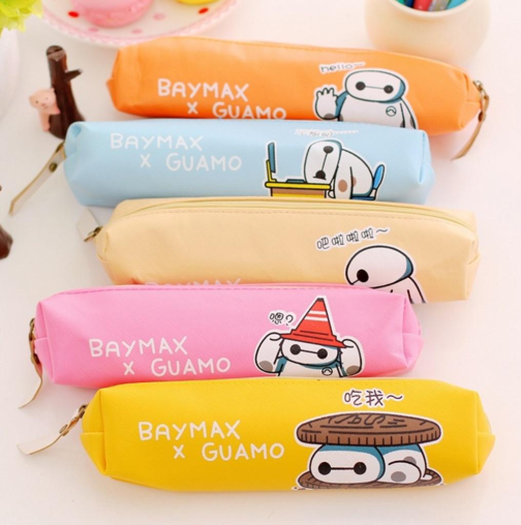 韩国可爱大白圆筒笔袋 复古文具袋盒 收纳袋铅笔盒文具盒铅笔袋