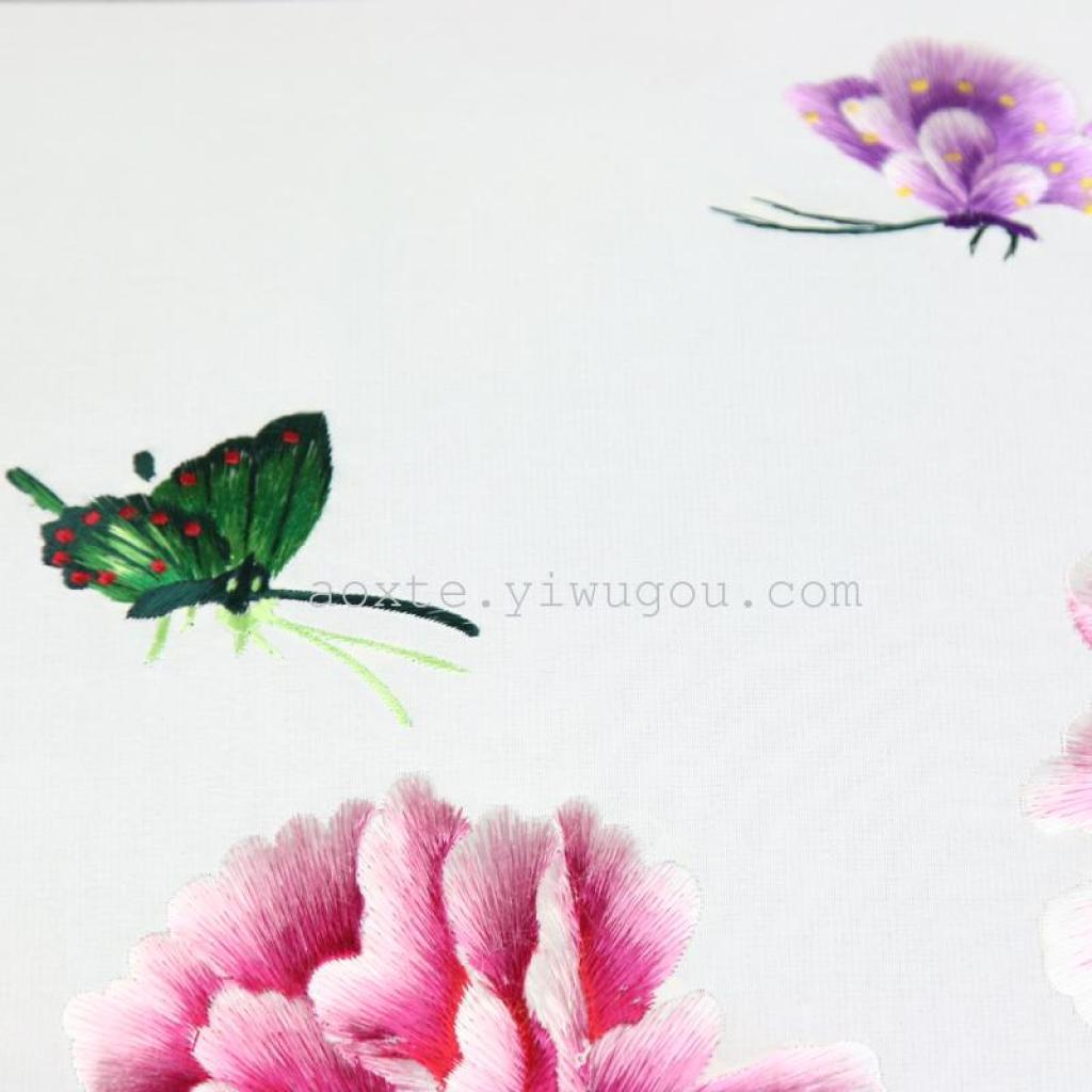 蝴蝶牡丹丝线绣 电脑刺绣装饰品