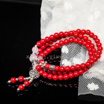 The opening of Taiwan red cinnabar Beads Bracelet sweater chain, men's and women's jewelry lovers hand on year of fate