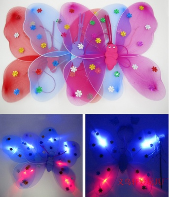 Luminous single butterfly wings three sets of Angel Fairy wand children's holiday gift