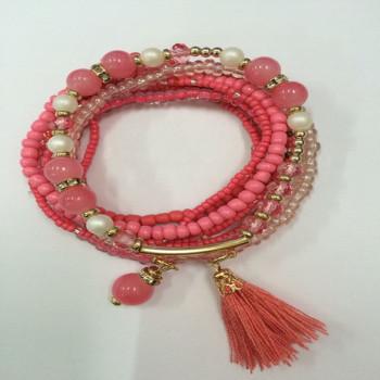 The new hot Bohemia style multiple glass beads combined elastic bracelets factory direct fashion bracelet