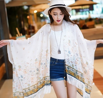 Sunscreen printed shawl tassel cardigan seaside holiday Taobao explosion of recruit agents