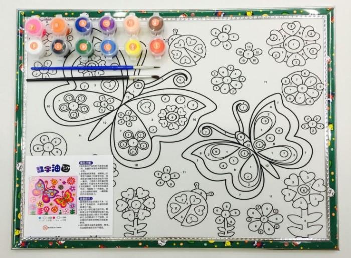 水彩画数字油画手绘卡通画填色画儿童水粉涂鸦画板diy