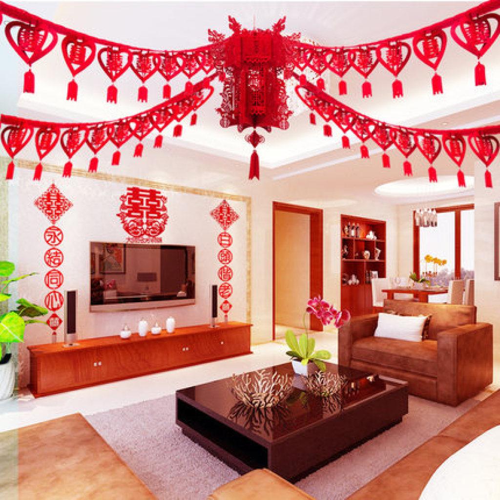 结婚婚庆婚房喜字拉花彩带挂饰套餐 新房卧室婚礼布置图片