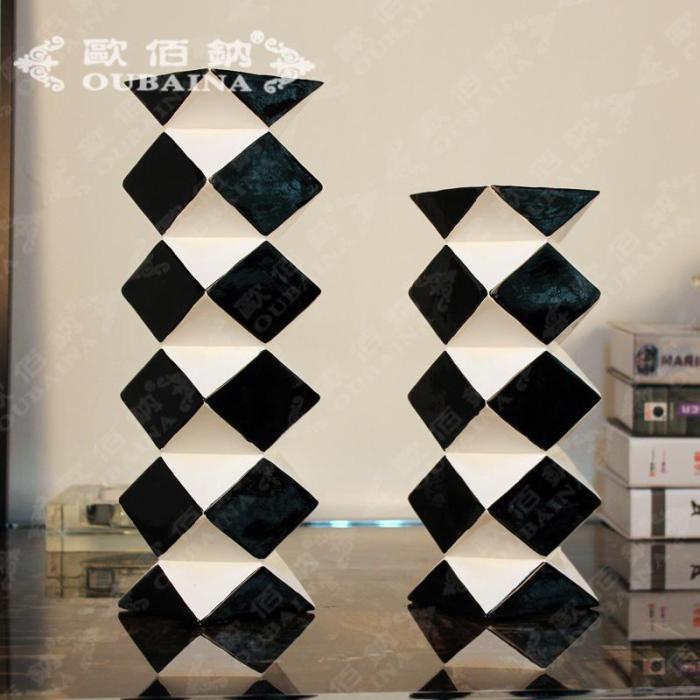 现代简约时尚黑白菱形方块烛台 创意树脂工艺品 实用摆件