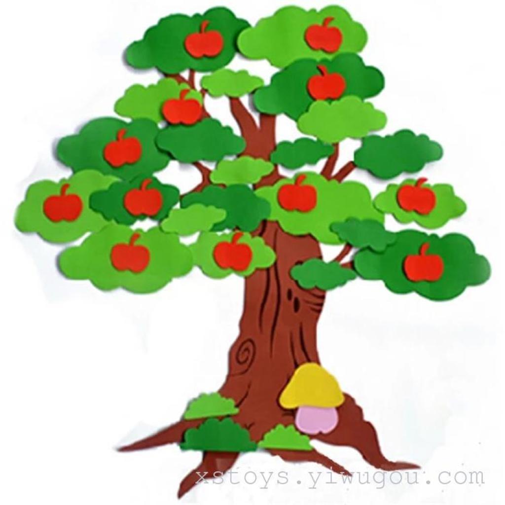 泡沫立体墙贴防真树苹果树枫叶树