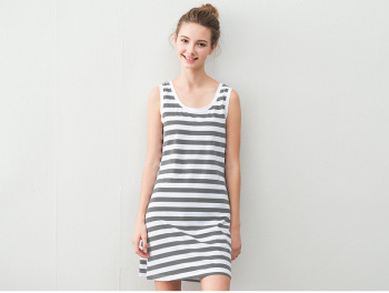 Lycra cotton vest Striped Pajamas nightdress