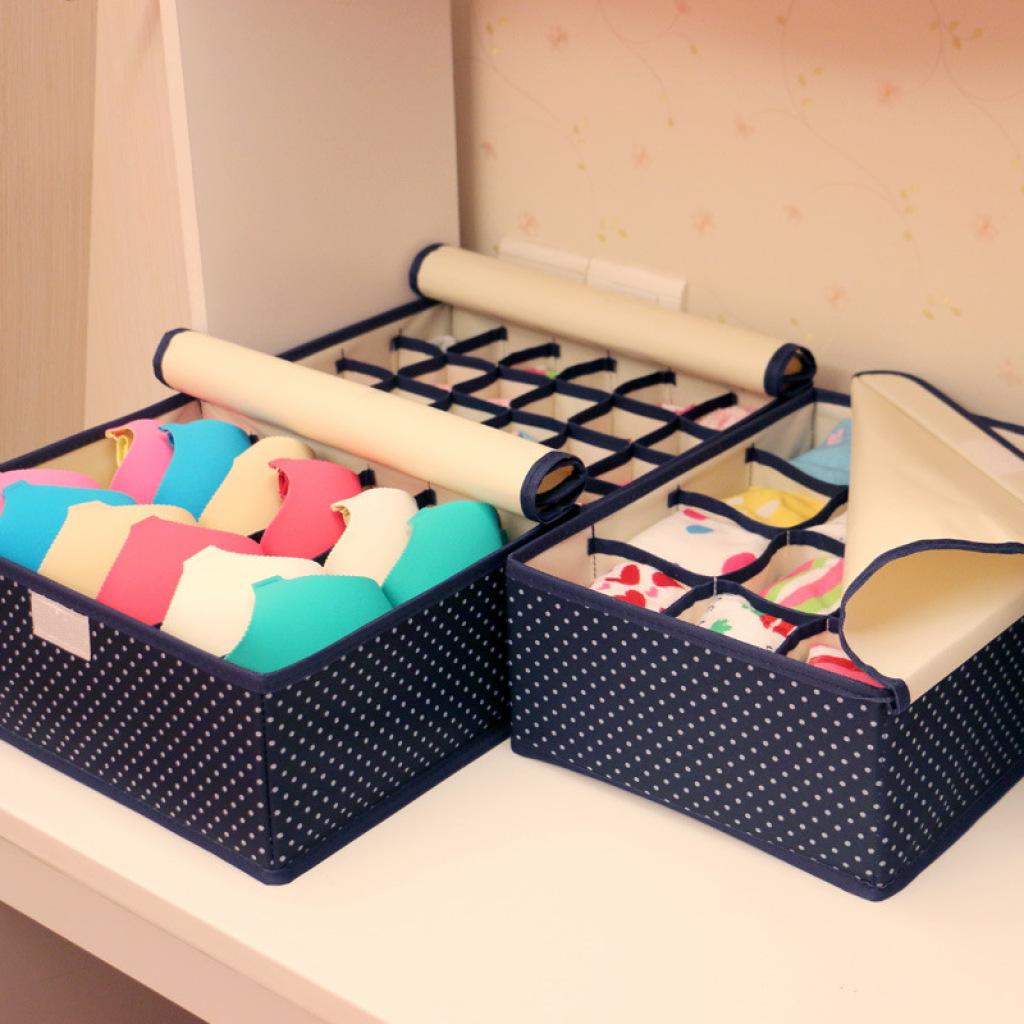 Oxford Cloth Underwear Storage Box Three Sets Of Bra Underwear Socks Storage  Box Finishing Box Storage