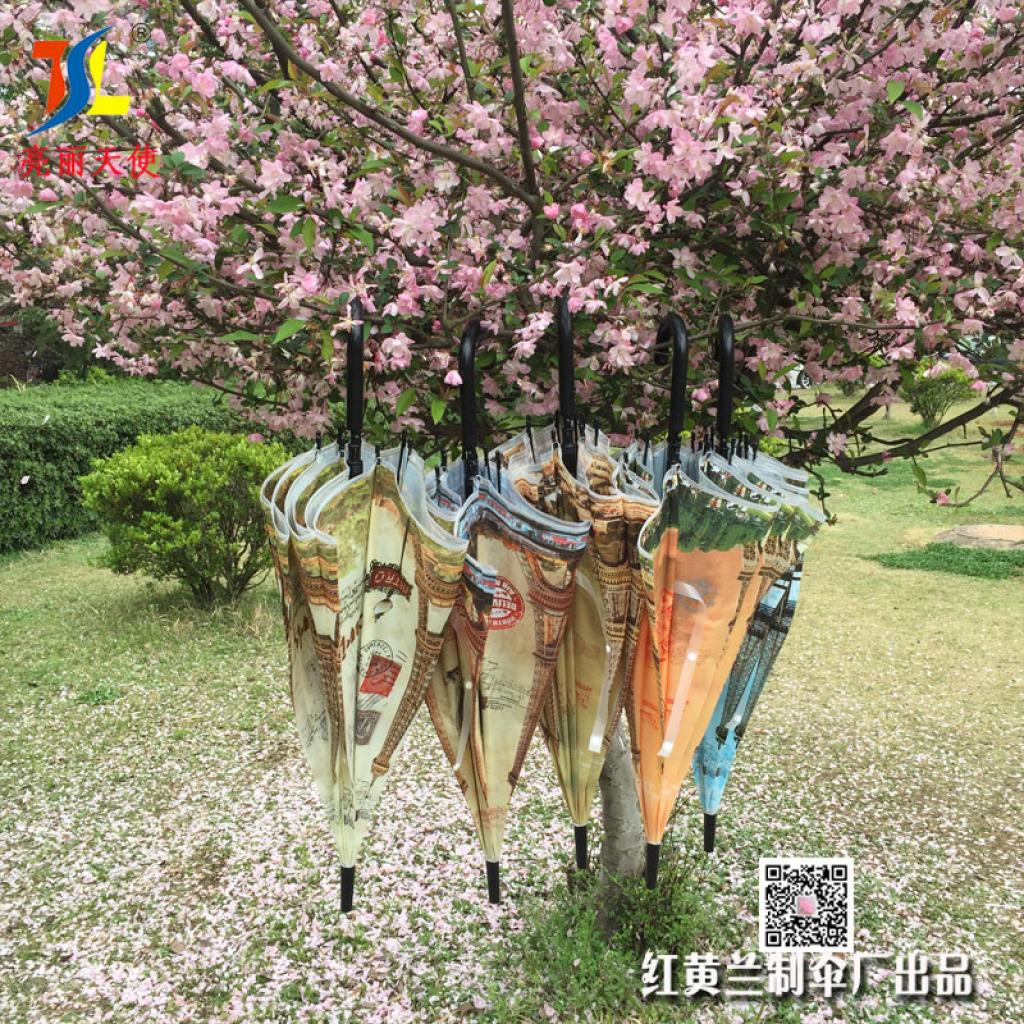 巴黎铁塔伞 风景eva环保长柄伞