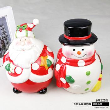 Santa Claus storage tank storage jar of candy festival decoration decorative ceramic Home Furnishing