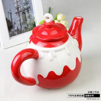 外贸陶瓷手绘圣诞老人茶壶 水壶 摆件 礼物