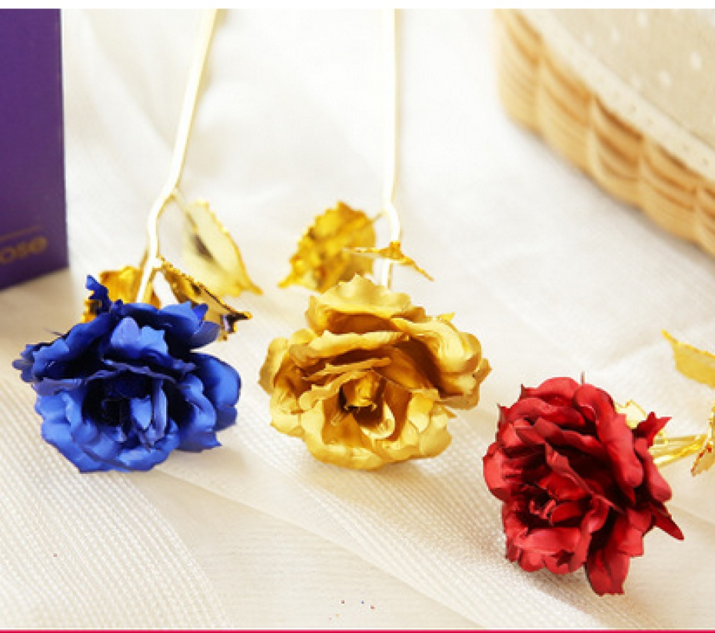 创意情人节礼物金箔玫瑰花 24k电镀玫瑰花礼盒