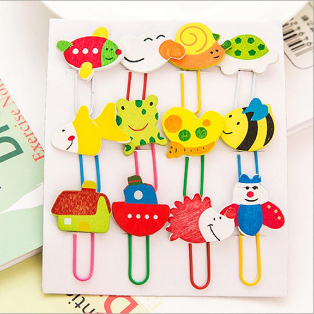 蓝澜百货 卡通木质回形针 彩绘可爱动物 夹子/书签