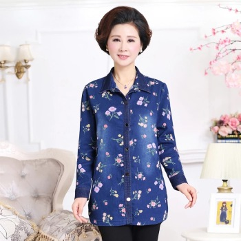 Large size middle-aged mother installed loose casual cardigan shirt denim jacket