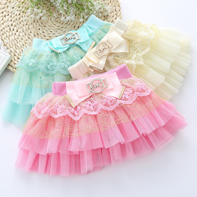 2018 small Korean version of the baby bust skirt tide BOW LACE stitching yarn's skirt