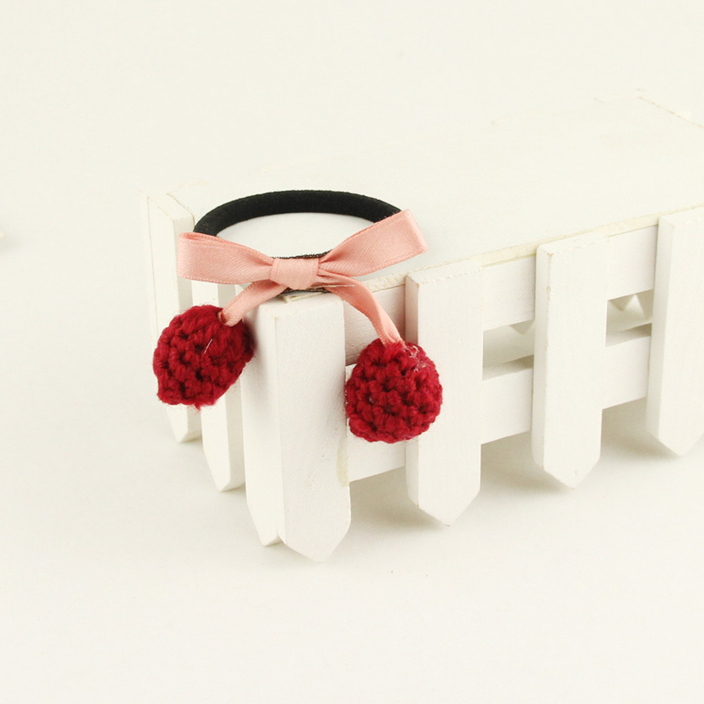【三好】布艺毛线樱桃皮筋可爱糖果色发绳批发