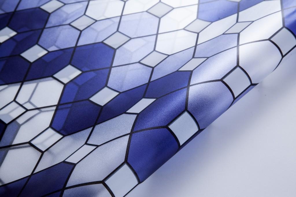 供应缘艺 yy821欧式风格 蓝色小波浪花纹玻璃膜