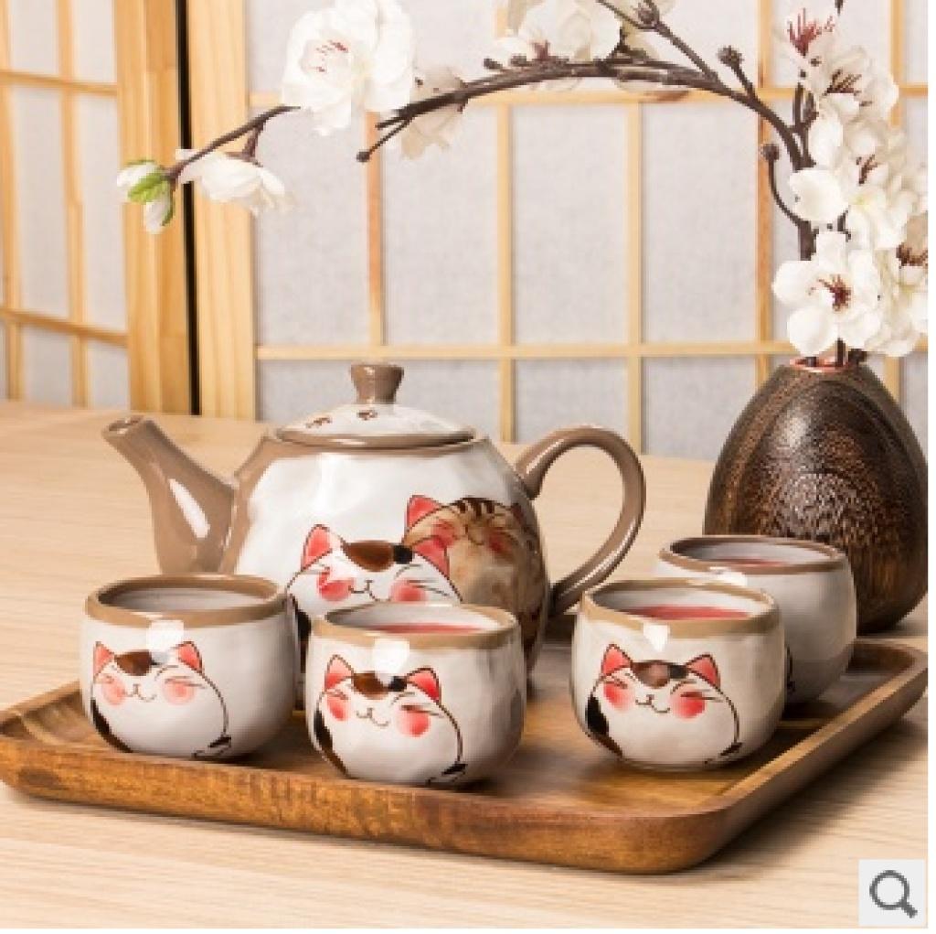 福猫系列茶具陶瓷套装 茶壶茶杯 日式复古和风可爱 手绘釉下彩
