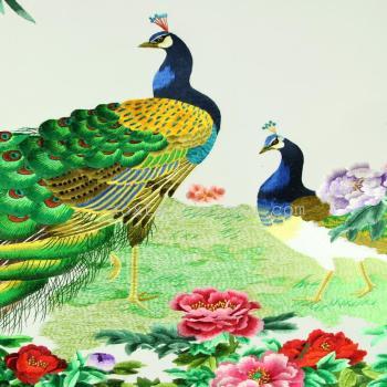 孔雀图案刺绣工艺品 居家装饰 高端