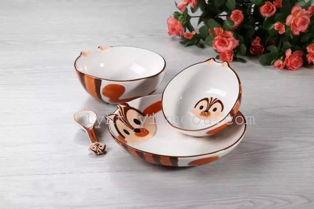 创意陶瓷卡通动物餐具套装手绘动物碗盘子儿童礼品餐具四件套