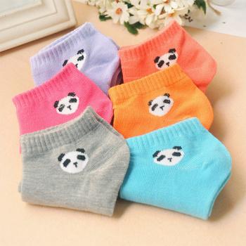 Korean cute candy color female socks socks creative cartoon panda head boat socks cotton socks