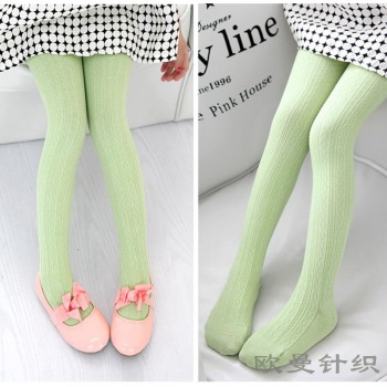 The spring and autumn children cotton twist knitted pantyhose vertical stripe Leggings Tights child candy colored girls
