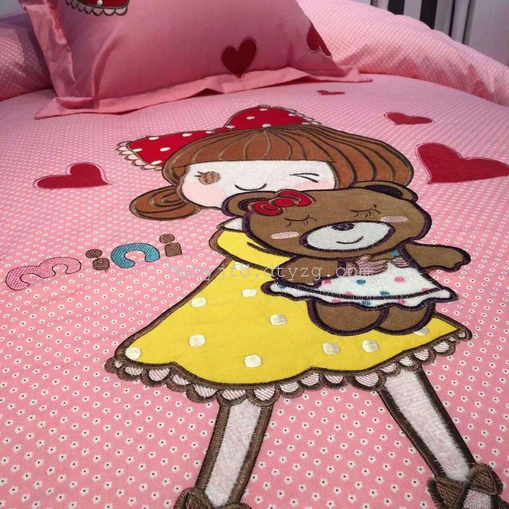 卡通 儿童大版定位  全棉床单被套 1.5儿童贴布绣四件套