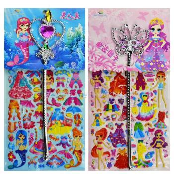 幼稚園の報酬の新しいコンボと魔法の杖が付加された児童漫画泡ステッカー