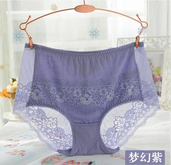 Transparent lace underwear sexy slim waist briefs breathable mesh