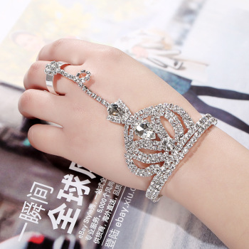 Europe and the United States with diamond bracelet adjustable ring wedding bride jewelry chain one hand