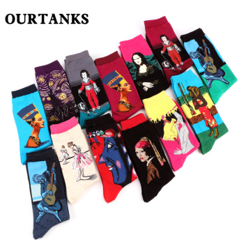 Vintage art world famous painting series men and women of the cylinder personality all cotton socks a dozen pairs