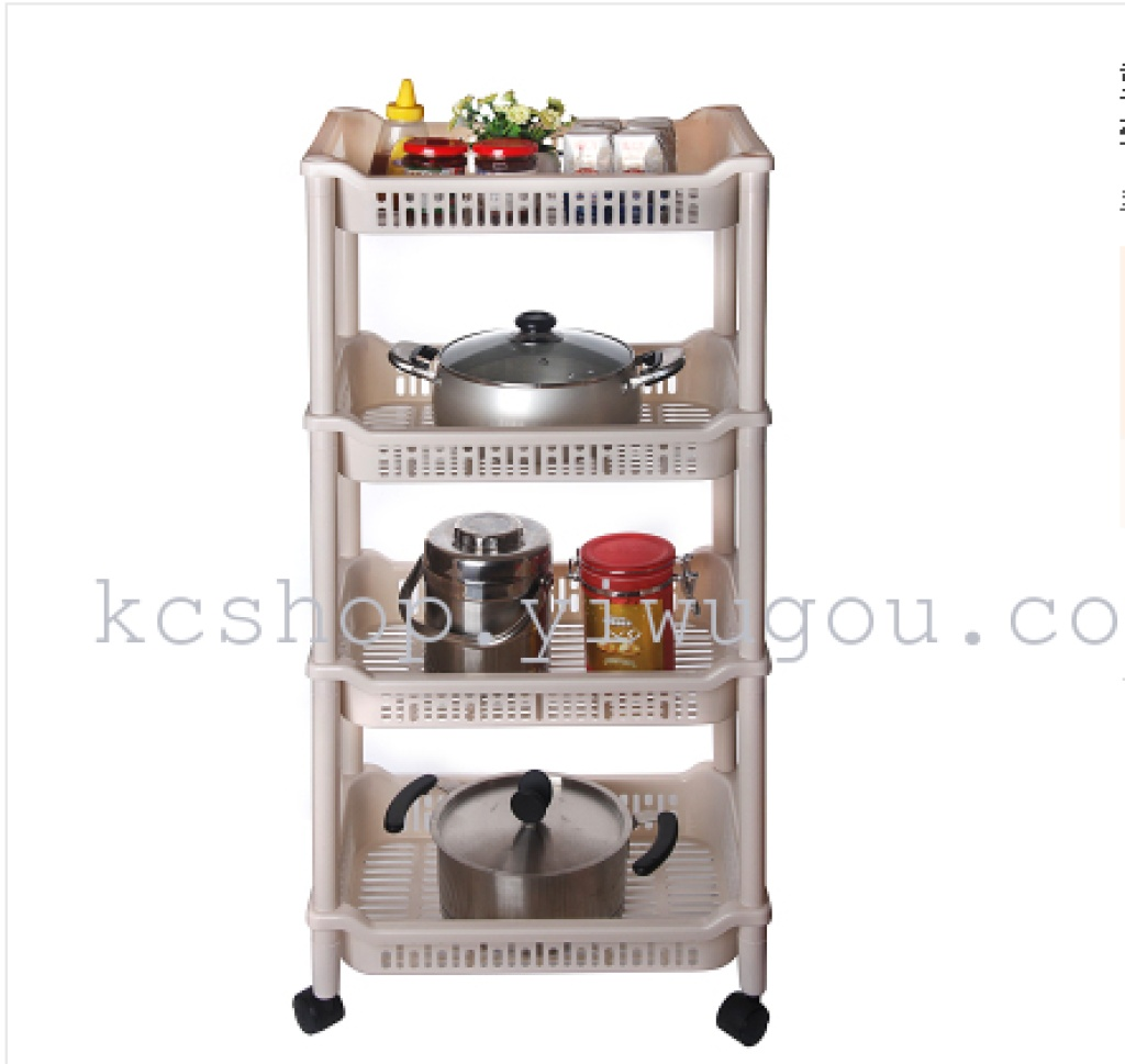 Supply Plastic kitchen storage rack movable pulley rack