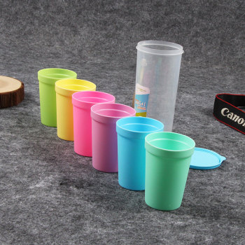 卡西诺彩色7件套塑料水杯儿童杯创意随手杯太空 2022
