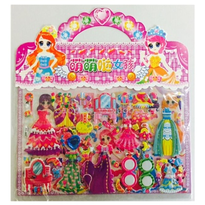 Bronzing with diamond bubble stickers small girl dress sticker notebook Combo