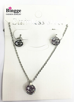 South American fashion jewelry 316L Stainless Steel Earrings Necklace Set