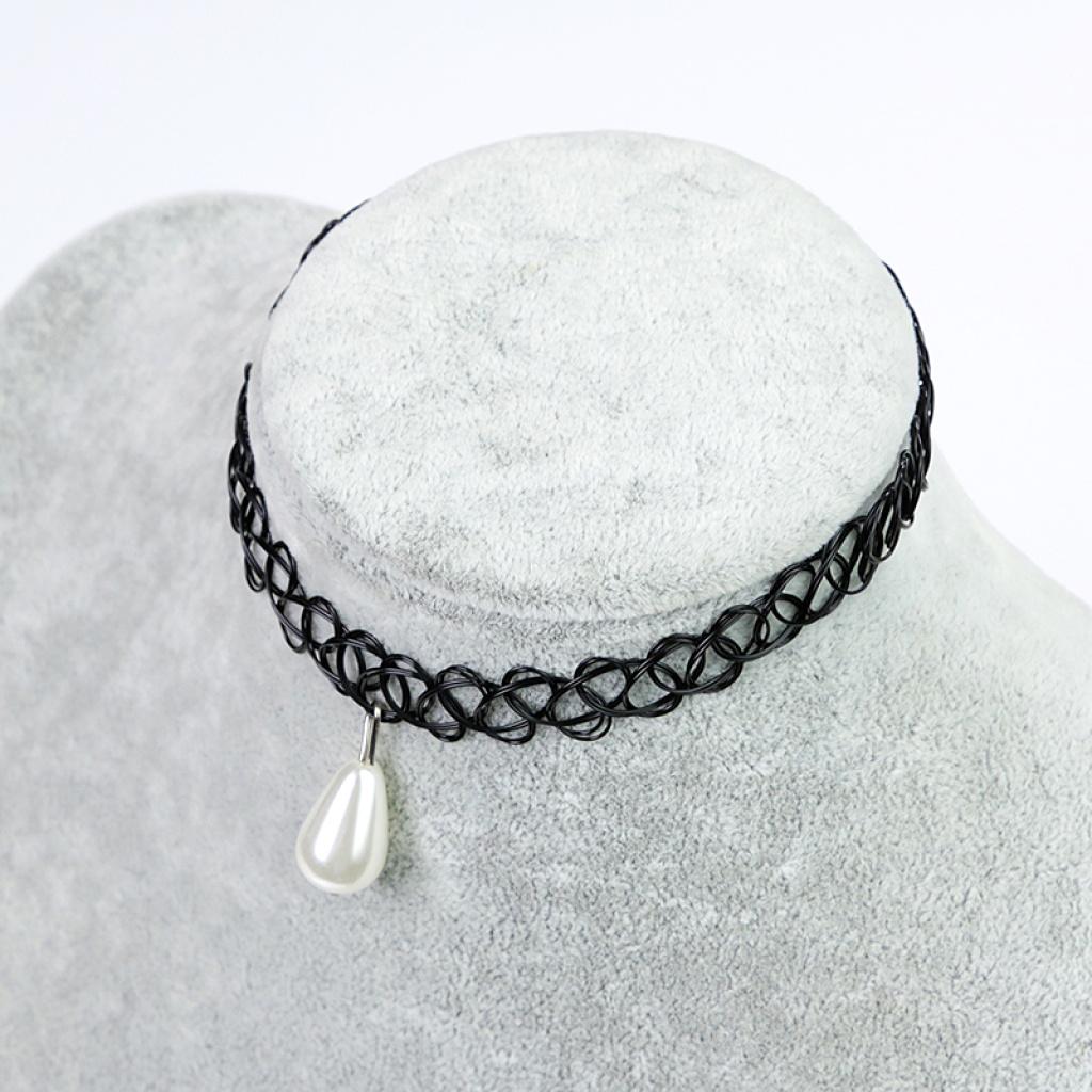 爆款欧美编织项链女水滴锁骨链黑色颈链脖子饰品