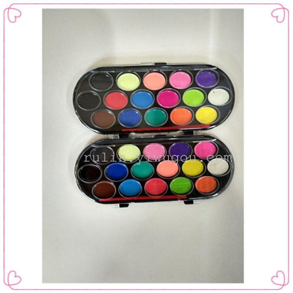 十六色半干水彩画颜料水粉颜料 DIY儿童颜料