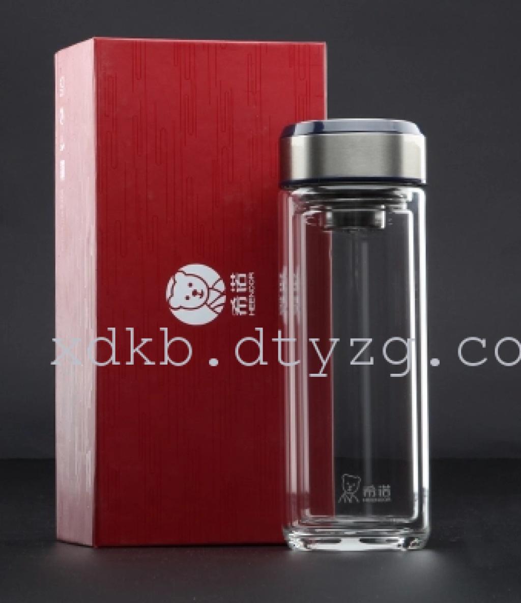 大同云中购希诺双层玻璃杯便携商务水晶杯男女士办公室礼品茶杯
