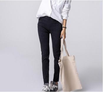 The new pencil pants, bamboo woven jeans Korean pencil pants Leggings