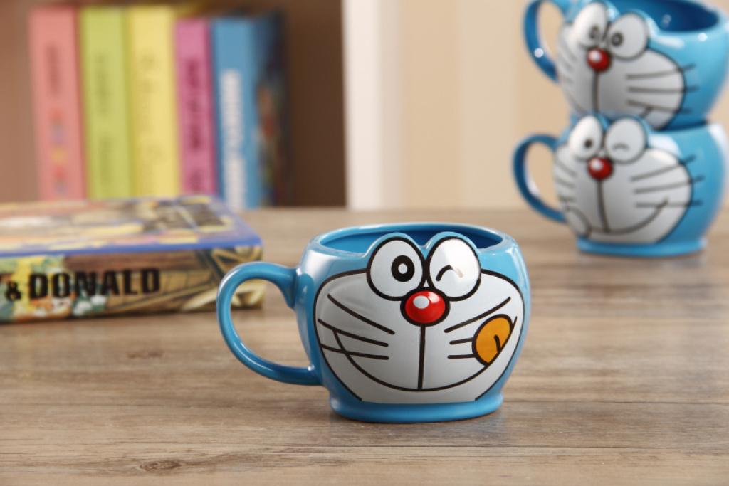 色釉多啦a梦立体造型早餐杯牛奶杯儿童可爱水杯