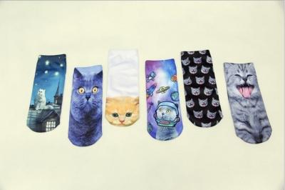 Spring selling foreign trade printing socks Harajuku animal food 3D three-dimensional socks straight boat socks