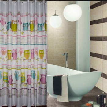 Genuine new owl thick waterproof mildew toilet bath curtain hook to send polyester