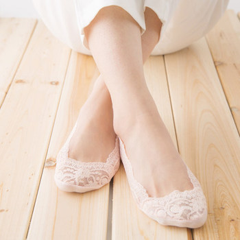 Summer seamless invisible shallow ice silk stockings cover female silicone anti slip with lace short socks
