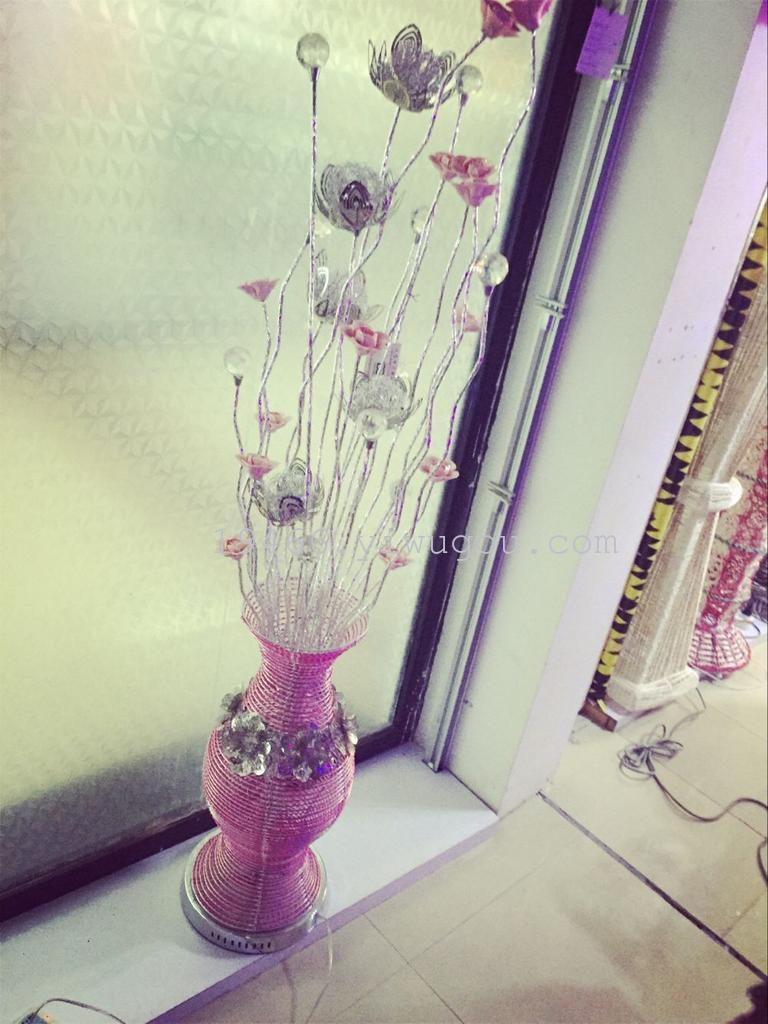 Supply Factory Direct Led Three Color Change Light Source Aluminum Tri Wiring Of A Wire Lamp Pink Ceramic Flower Floor Home